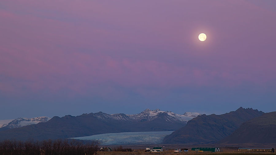 Moonset over a Glacier Iceland Iceland Memories Jokulsarlon Glacier Rural Astronomy Beauty In Nature Countryside Landscape Magenta Sky Moon Moonset At Sunrise Mountain Mountain Range Nature No People Outdoors Scenics Sky Snow Sunrise Sunset Tranquil Scene Shades Of Winter