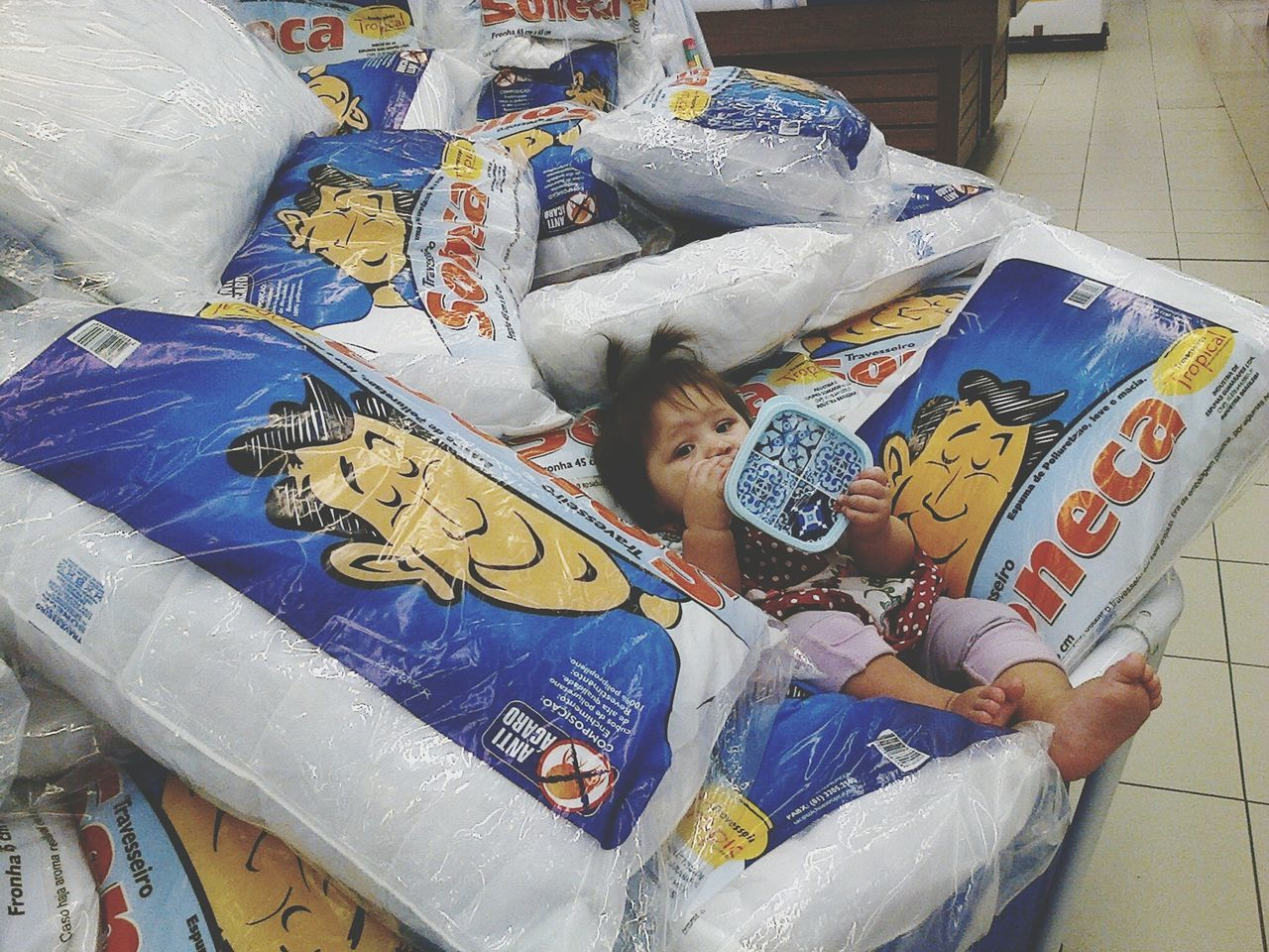 high angle view, real people, indoors, childhood, day, lying down, cardboard box, full length, one person, people