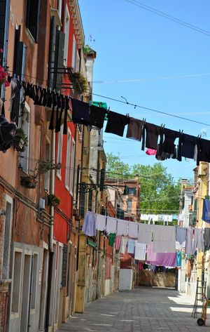 Laundry in Venice city Sky Built Structure Architecture Hanging Outdoors Building Exterior City Venice Laundry Clothes Travel Italy Typical Traditional Destination