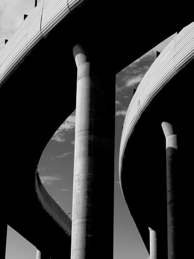 NURBS - Part of my ongoing series about difference. Architectural Column Architecture Blackandwhite Bridge - Man Made Structure Built Structure Curves Geometric Shape Low Angle View Minimalism Minimalism_bw Minimalist Architecture Modern Monochrome Outdoors