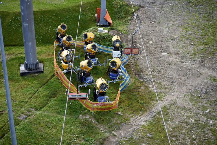 High angle view of people standing on field