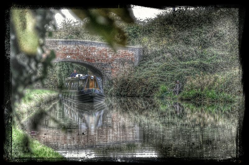 Canal Life Water Reflections Fisherman Canal Barge HDR