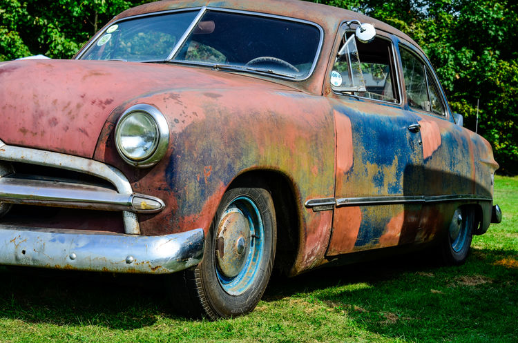Another shot of that well aged Ford sedan from 1949. This side still has a bit of paint on it.Transportation Car Mode Of Transport Headlight Rusty Old-fashioned Retro Styled Day Outdoors No People Worn Out Ugly Classic Vintage 1949 Ford Metal Close-up Nikon Edit Hobby Low Angle View