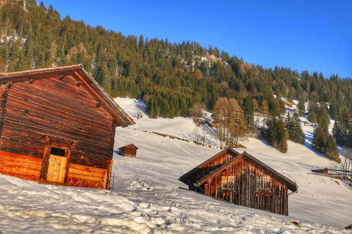 Snow Winter House Built Structure Cold Temperature Building Exterior Beauty In Nature Log Cabin Tree Roof Nature Architecture Scenics No People Outdoors Mountain Tranquil Scene Day Landscape Tiled Roof