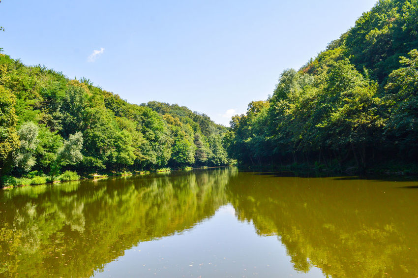 Nature Beauty In Nature Outdoors Tree Water Lake Reflection Clear Sky Sky Lush - Description Calm Reflection Lake Lush Foliage Growing Greenery Green Symmetry Countryside Tranquil Scene Tranquility Standing Water The Great Outdoors - 2018 EyeEm Awards
