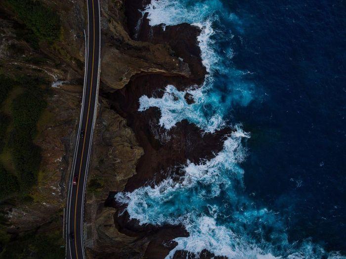 Aerial view of oahu by highway