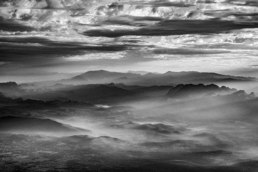 Morning light at Doi Luang Chiang Dao Mountains in black and white tone. Chiang Dao Chiang Mai   Thailand Cloud Cloud - Sky Cloudscape Cloudy Doi Luang Doi Luang Chiang Dao Doi Luang, Chiang Dao Landscape Light Mist Morning Mountain Mountain Range Mountains Nationalpark Nature Nature Outdoors Scenics Sky Thailand Travel Weather