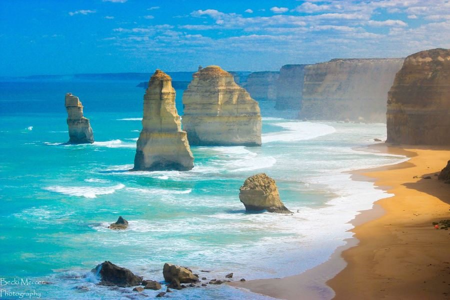 12 Apostles- Great Ocean Road, Australia Water Sea Scenics Tranquil Scene Beauty In Nature Tranquility Rock Formation Blue Rock - Object Nature Idyllic Surf Sky Majestic Cloud - Sky Geology Limestone Physical Geography Outdoors Australia Great Ocean Road 12 Apostles