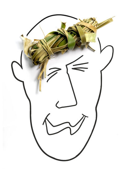 Directly Above Shot Of Dried Leaves On Anthropomorphic Face Over White Background