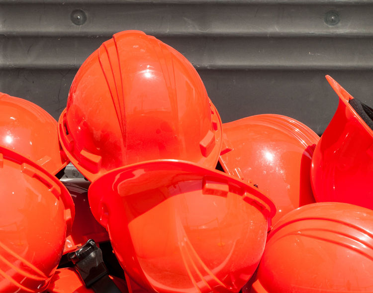 Close-up Day HardHats Large Group Of Objects No People Orange Color Outdoors Red