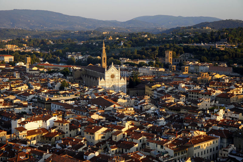 Aerial view overlooking the city of florence