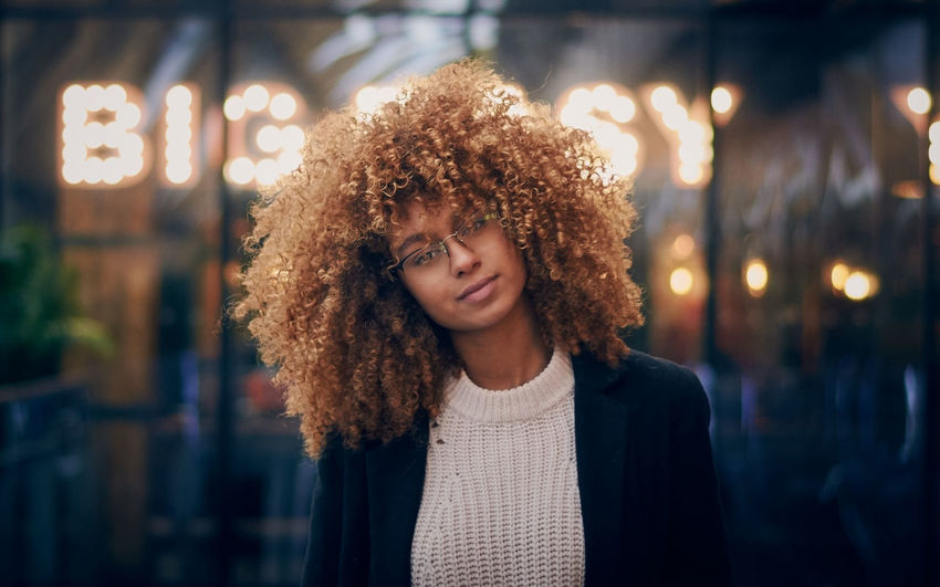 Model: Ines Sehla Contact (instagram: @inessehla) Adult Adults Only Afro Beautiful Woman Casual Clothing Curly Hair Focus On Foreground Happiness Illuminated Leisure Activity Lifestyles Night One Person Outdoors People Portrait Real People Smiling Young Adult Young Women Fresh On Market 2017 Capture Tomorrow