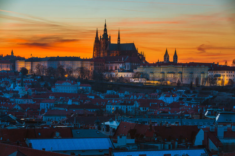 Architecture Building Exterior Built Structure City Cityscape Cloud - Sky Day High Angle View Nature Nautical Vessel No People Outdoors Place Of Worship Prague Religion Sky Spirituality Sunset Travel Destinations Water