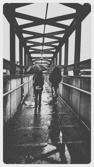 Rainy day Rainy Days☔ Outdoors Walking Railing Bridge - Man Made Structure Footbridge Sky Dark Clouds First Eyeem Photo
