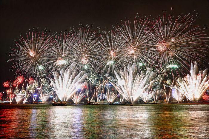 除夕第一炮 Celebration Firework Display Exploding Night New Year's Eve Event Multi Colored Firework - Man Made Object Sky Midnight Outdoors No People Travel Destinations Things I Like Light And Shadow Fine Art Photography Cloud - Sky Hong Kong
