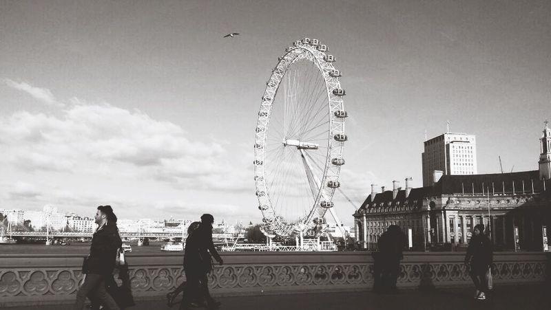 London London Eye Black And White