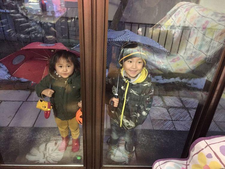 お下がりの傘を喜んでくれる兄妹 甥っ子 姪っ子 雨も雪も降ってないのに 窓から登場 かわいい おばばか