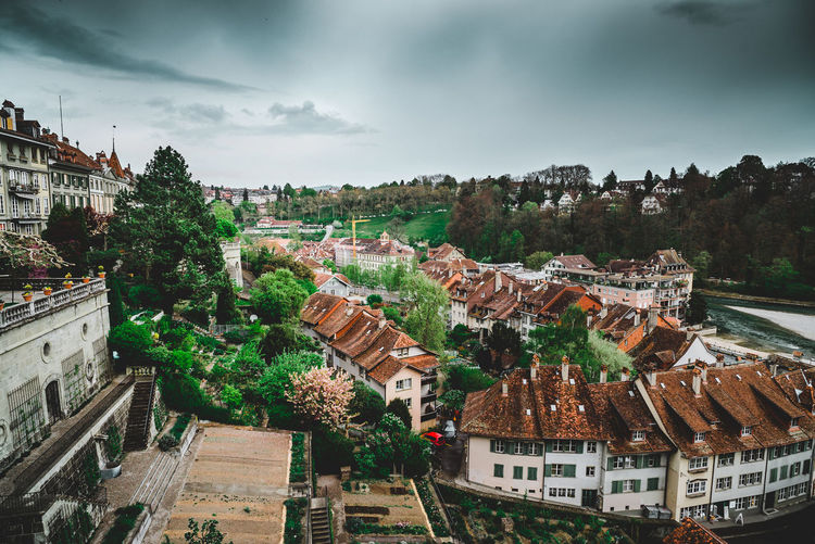 Old City of Bern Architecture Building Exterior Built Structure City Cityscape Cloud - Sky Day Dramatic Sky Fairytale  Heights High Angle View Hill Layers Moody Nature No People Oldcity Outdoors Sky Tree Vacations Water