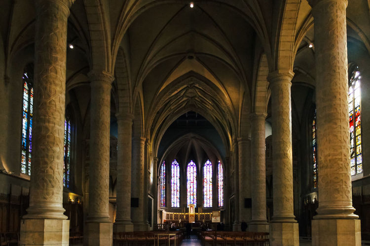 Architecture Arch Built Structure Religion Belief Place Of Worship Architectural Column Spirituality Building Indoors  The Past History No People Window Day Abbey Colonnade Glass Ceiling Architecture And Art Arched Domestic Animals Luxembourg Cathedral Church Church Architecture Dome Stained Glass