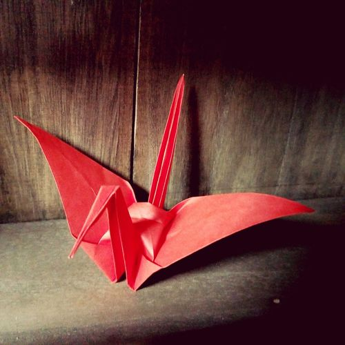Folded paper crane Folded Paper Crane 折り鶴 Origamiart Origamicrane Origami Craft Origami Red Close-up
