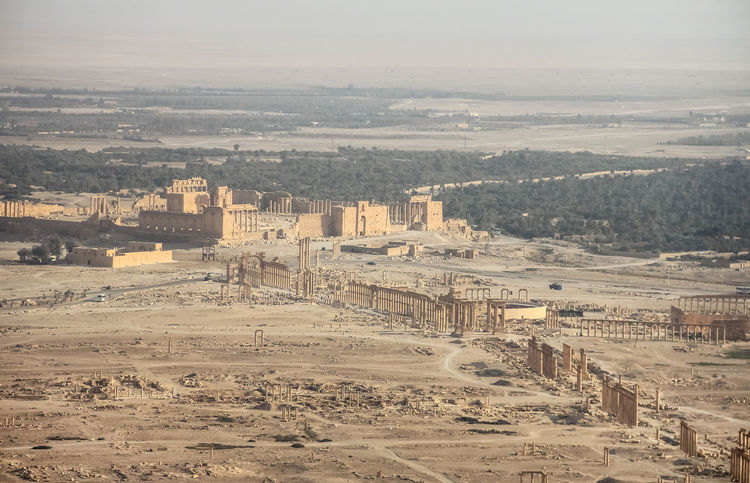 ASIA Ancient Archeology Colonnade Desert East Empire Palmyra Ruins Panorama Syria  Travel Arabic Buildings Architecture Castle Ruin Civilisation Columns History Monument Old Ruin Oriental Restoring Roman Ruined Temple Unesco