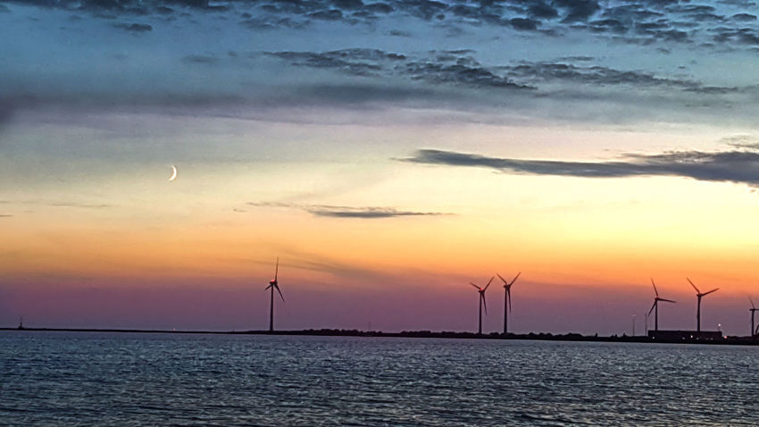 Nature Windmill Beauty In Nature Nature Nature_collection Night Ocean Sea Sky Sunset Water