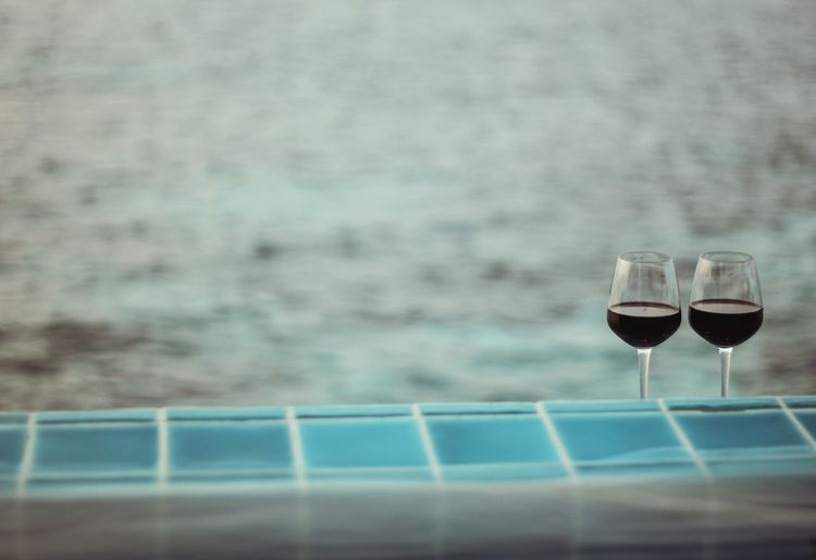 Wine Not Wineglass Water Swimming Pool Vacations Outdoors Sea Relax Vacation Maldives Honeymoon Wine Breathing Space