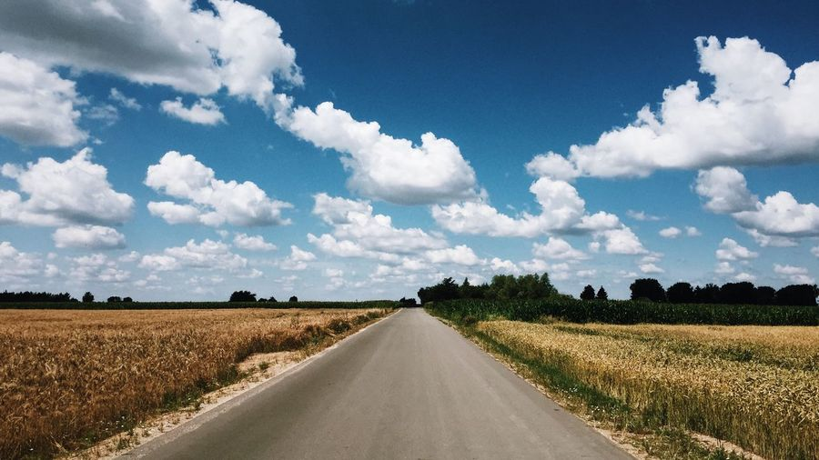 EyeEm Selects Sky Cloud - Sky Landscape Road Diminishing Perspective Direction Land Tranquil Scene The Way Forward Beauty In Nature Day Scenics - Nature