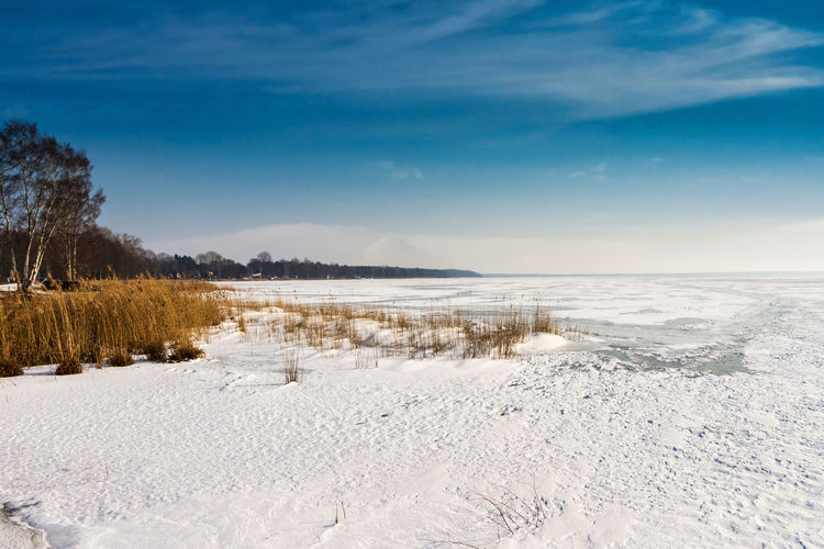 Frozen and snow-covered ice surface on the steinhuder meer