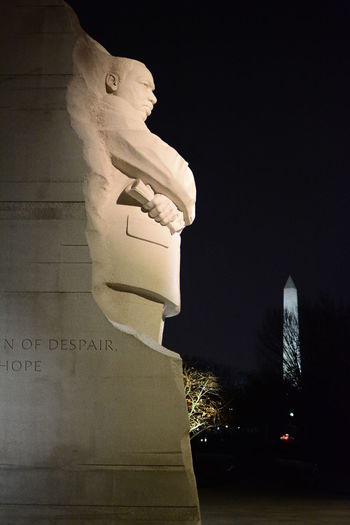 DC at night.... MLK Memorial Martin Luther King Night Photography Nightphotography Washington DC Washington Monument Washington, D. C. Architecture Building Exterior Built Structure Close-up History Human Representation Illuminated Martin Luther King Memorial  Night No People Outdoors Religion Sculpture Spirituality Statue Statues And Monuments