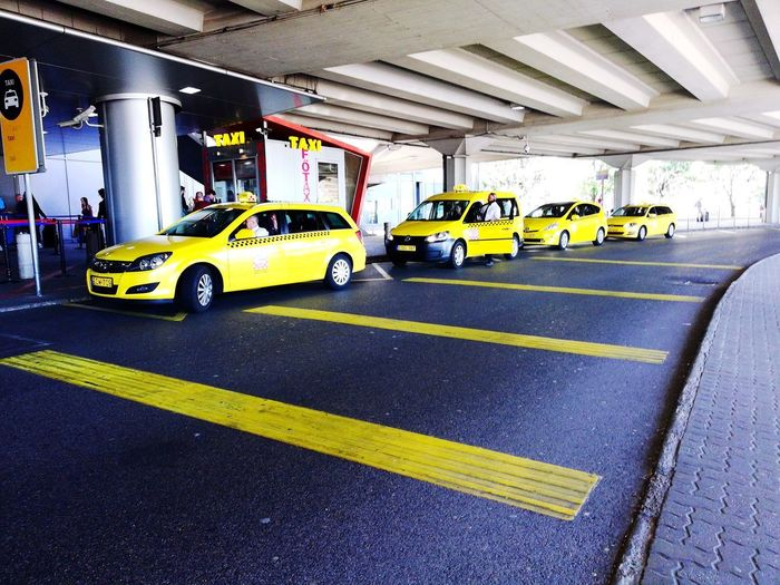 View of yellow parking lot