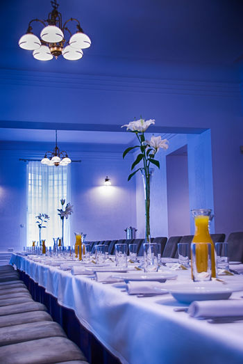 It's dinner time Business Stories Absence Arrangement Blue Decoration Dinner Dinner Time Color Palette Empty Empty Chair Empty Places Illuminated Lamp Lighting Equipment Luxury Luxurylifestyle  Savoir Vivre Interrior Views Restaurant Restaurant Decor Restaurante Romantic Side By Side Supper Suppertime Travel