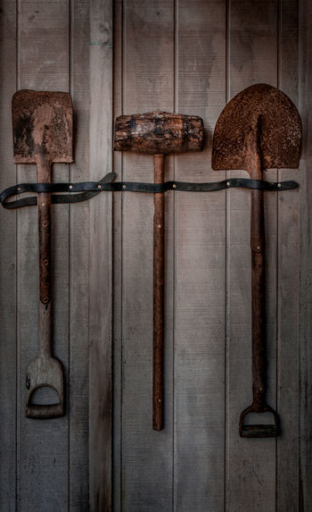 Auckland Zoo. Auckland, New Zealand. Auckland Brown Close-up Closed Day Deterioration Empty Farm Hammer Handle Metallic New Zealand No People Old Run-down Shovel Simplicity Spade Still Life Wood Wood - Material Wooden Zoo