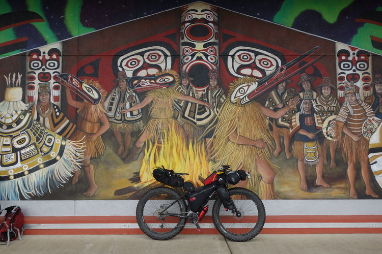 Bikepacking by a Mural in Estacada Estacada Native American Art Spirituality Touring Bicycle Bike Bikepacking Fat Fatbike Mural Nativeamerican  North American Painting Public Art