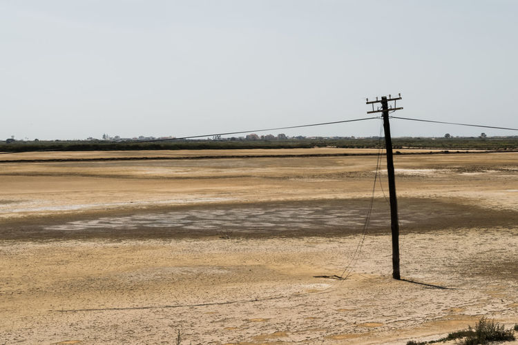 Electric pole on field
