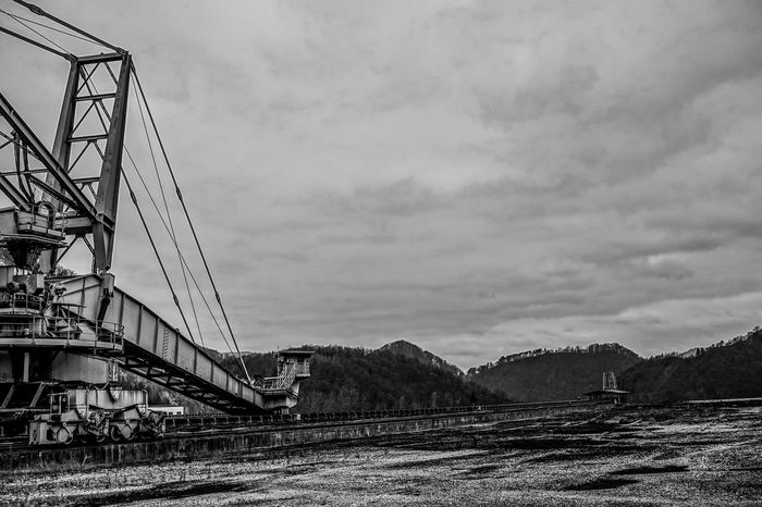 Architecture Big Machines Black And White Bridge - Man Made Structure Built Structure Cloud - Sky Connection Day Europe Giant Machine History Industrial Industry Iron Man Made Structure Metal Construction No People Outdoors Scenics Sky Slovenia Tourism Travel Destinations Trbovlje Workers Area
