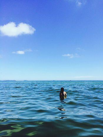 Life Is A Beach Landscrape Holiday Enjoying Life Met a girl in the ocean.