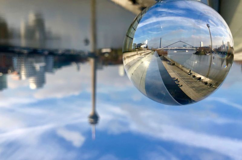Düsseldorf Lensball Photography Lensball Reflection Sphere Sky Cloud - Sky Nature No People Close-up Glass - Material Geometric Shape Focus On Foreground Water Shape Built Structure Ball Cold Temperature