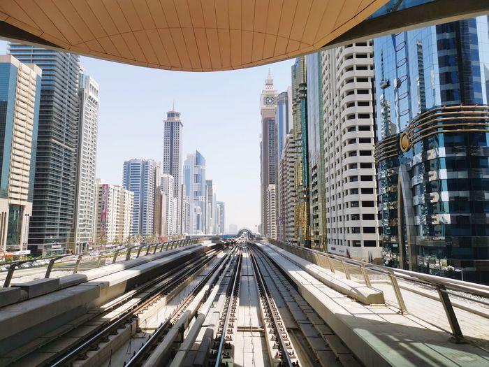 Overground metro in modern city