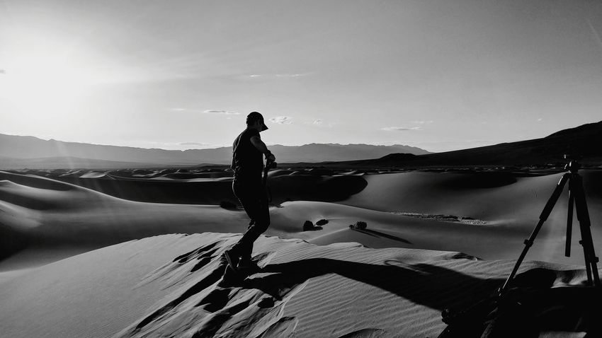 Desert Sunrise Photography Sand One Person Only Men One Man Only Adults Only Shadow Landscape Full Length People Standing Silhouette Nature Sky Adult Scenics Outdoors Day B&w Hiking Desert Tripod Desert Photography Tripod Photography Black And White B And W Perspectives On Nature Black And White Friday Go Higher This Is Family The Photojournalist - 2018 EyeEm Awards The Great Outdoors - 2018 EyeEm Awards The Traveler - 2018 EyeEm Awards Capture Tomorrow Moments Of Happiness It's About The Journey