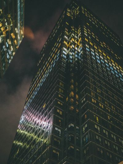 Built Structure Architecture Illuminated Building Exterior Night Building Low Angle View Skyscraper Window Sky Glass - Material Cloud - Sky