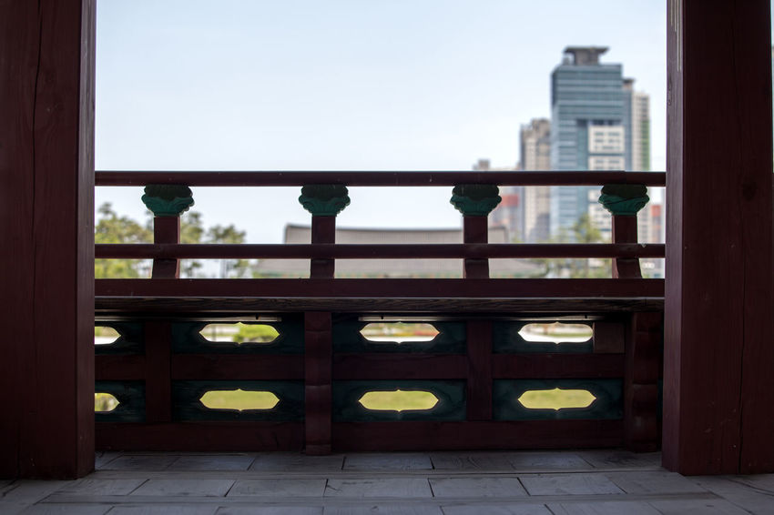 Architectural Column Balcony Bench City City Life Day Empty Korean Traditional Lifestyles Michuhol Park No People Sky Songdo, Incheon Terrace Tranquility Travel Destinations Vacant Window
