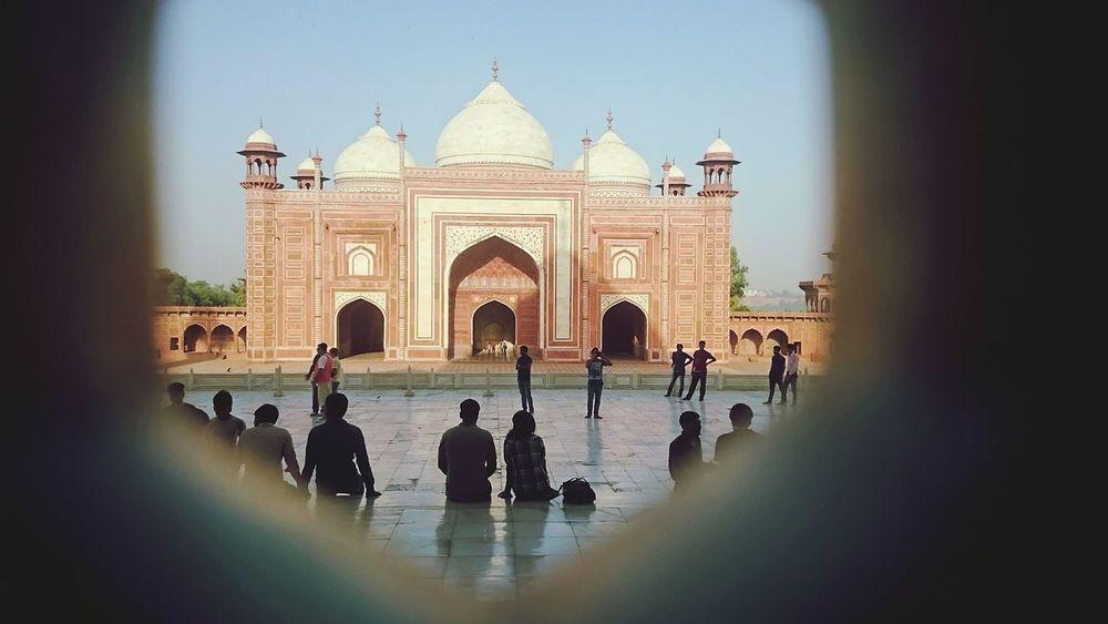 Shah jahan's soul wondering inside Taj Mahal, watching the visitors who hadn't enter yet to see him and watching his Motti Masjid Tourism India Taj Mahal Architecture Shahjahan Travel Travel Destinations