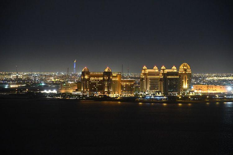 Building Exterior Built Structure Development Doha Hotel Illuminated Intercontinentalhotel Night Qatar Qatar2022 Stregisdoha Urban Skyline Worldcup2022