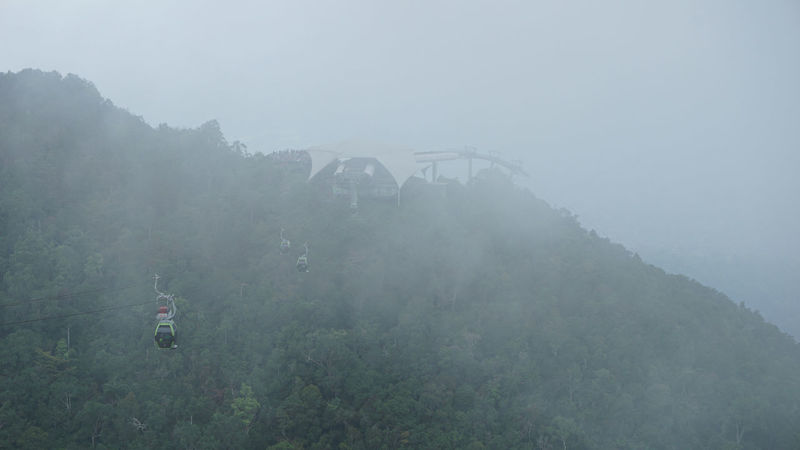 the gondola of langkawi cable car views during foggy day Day Fog Langkawi Mountain Nature Outdoors Skycab Torusim Tree
