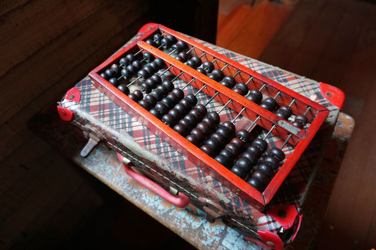 Old wooden abacus on old briefcase