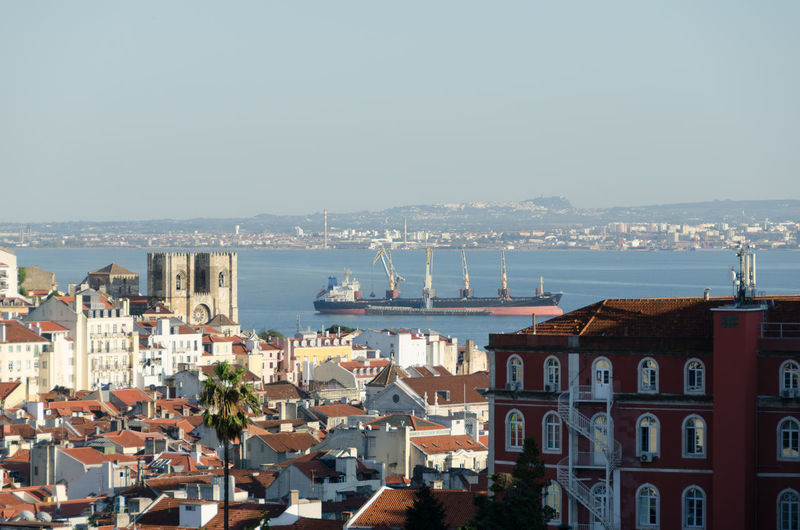 Lisbon - Portugal Architecture Building Exterior Built Structure City City Location Cityscape Clear Sky Crowded Day Dome High Angle View Horizon Over Water Nature Outdoors Residential Building Residential District Sea Sky Town Travel Destinations Water