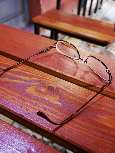 Wooden Table Clear Glasses Close-up Day Eyeglasses  No People Outdoors Table