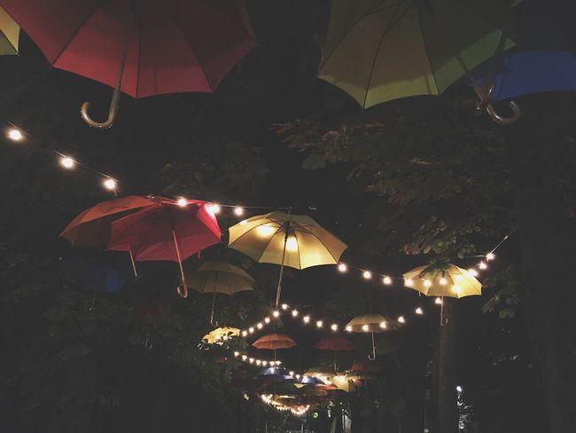 Fashion umbrellas ~ Montegrotto Terme (PD) Night No People Illuminated Hanging Low Angle View Outdoors Nature Umbrellas Rain Nature Italy Collieuganei Padova