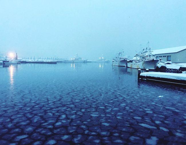 Winter Surface Ocean Harbor Ice Snow Cold Japan Otaru Frozen Freez  Blue Cold Temperature Hokkaido Freezer